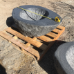 Small black granite fire pit